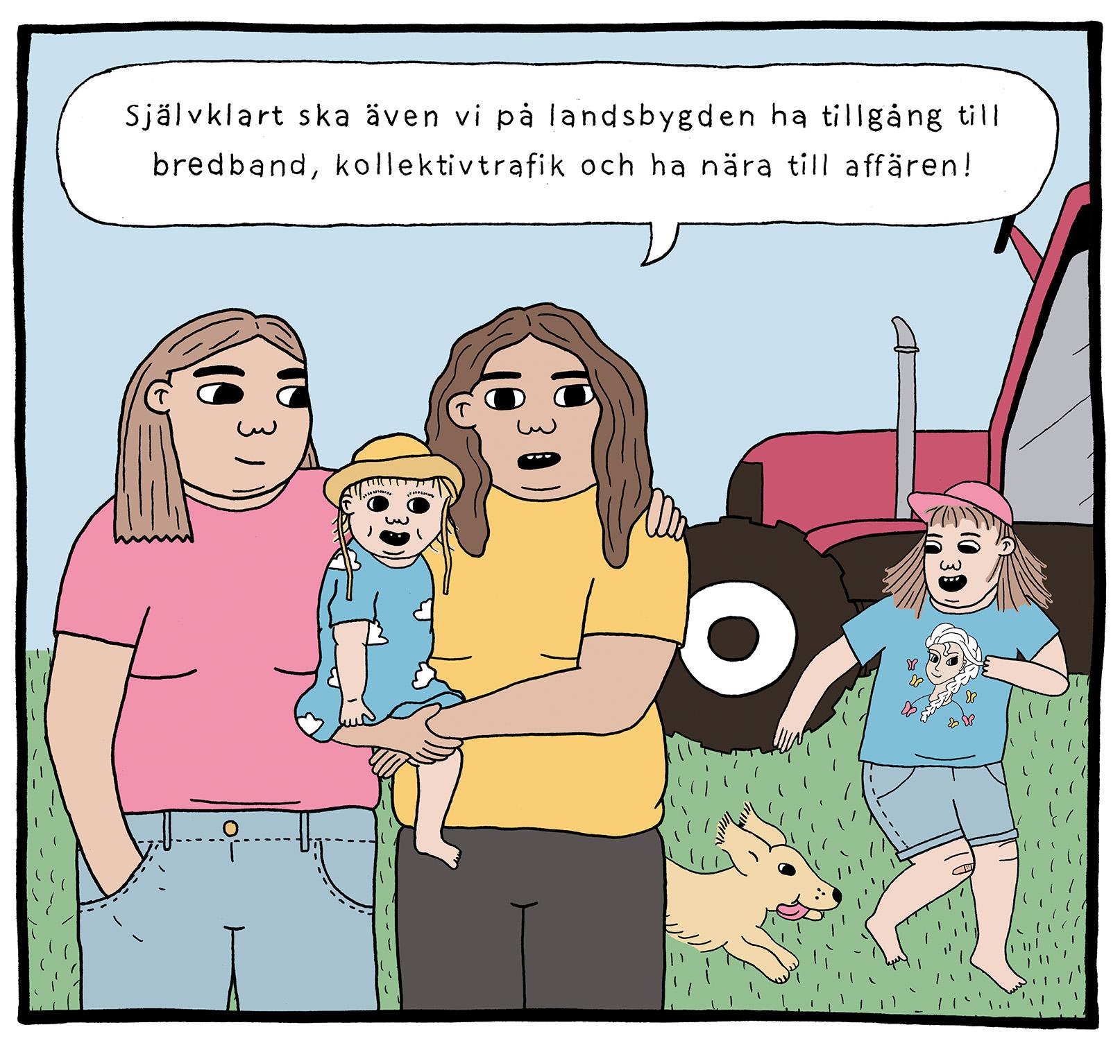 Tecknad bild på landsbygdsbor som kräver service även på landsbygden.